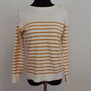 Banana Republic striped sweater w/shoulder buttons